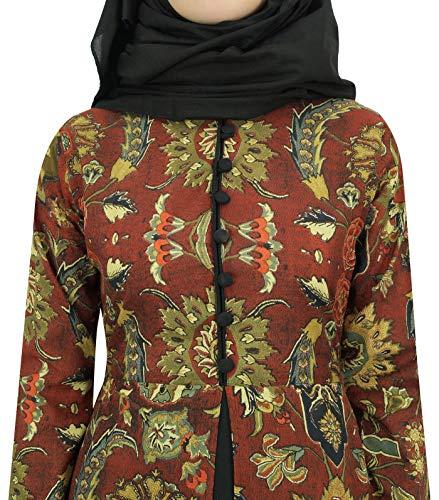 Donne Con Abaya Abito Maxi Bimba Nero L'hijab Manica Marrone Lunga Delle Burqa Islamico w8n8qzxT