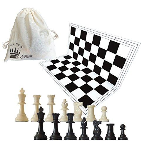 SchachQueen - Schachset - komplettes Schachspiel mit Schachbrett und Schachfiguren Plastik Feldgröße 57 mm Königshöhe 97 mm (schwarz/weiß)