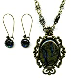 Antique Brass Large Golden and Blue Dichroic Glass Victorian Necklace and Earring Set 20-22 Inches