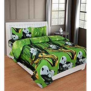 DELIGHT ZONE 144 TC 3D Printed Poly Cotton Double Bedsheet with 2 Pillow Covers (Multicolour, 90 x 90 Inch – Green with…