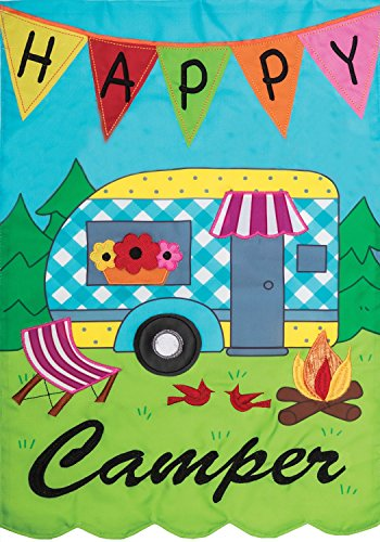 Happy Camper - Garden Size, Emboidered Applique Style, Double Sided Decorative Flag - Approx. 12 Inch X 18 Inch Copyright, Licensed and Trademarked by Custom Decor Inc.
