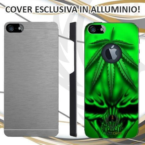 CUSTODIA COVER CASE MARIJUANA SKULL GREEN PER IPHONE 5 5S IN ALLUMINIO