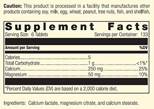 Standard Process - Calcium Lactate - Non-Dairy Calcium Supplement, 250 mg Calcium, 50 mg Magnesium, Supports Healthy Bones and Teeth, Gluten Free and Vegetarian - 800 Tablets