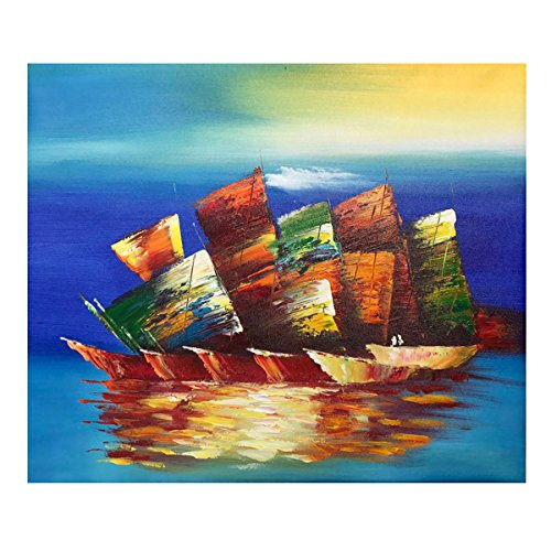 Hand Painted Wall Mural - Oil Painting on Canvas - 100% Hand Painted Modern Artwork Sailboat, Framed for Living Room Bedroom Entrance Mural Wall Decoration (20'' x 24'', Framed) (Sailboat02)