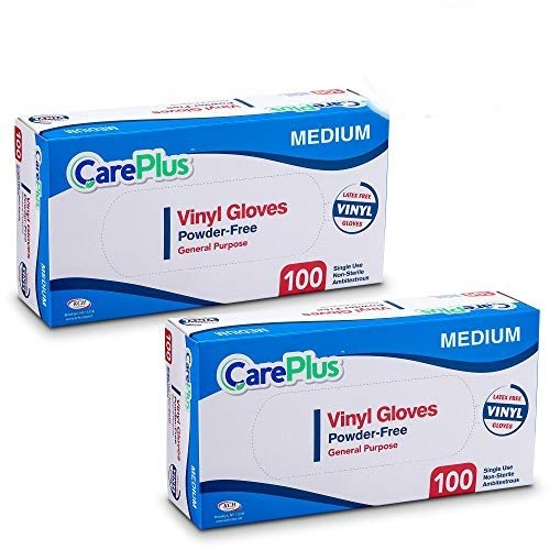 Care Plus Disposable Vinyl Gloves, Powder Free, Clear, Latex Free, Allergy Free, Medium, 100 Gloves In A Box Pack of - Vinyl Non