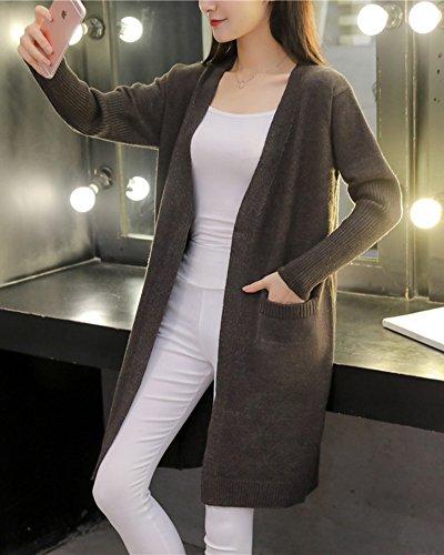 Chandail Femmes Gris Front Open Cardigan Fonc Poches Outwear Manches Tricot Longues Gilet Manteau UIqSU
