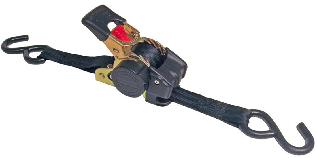 Erickson 34415 Pro Series Black Retractable Ratcheting Tie-Down Strap (Pack of 2, 1'' x 10')