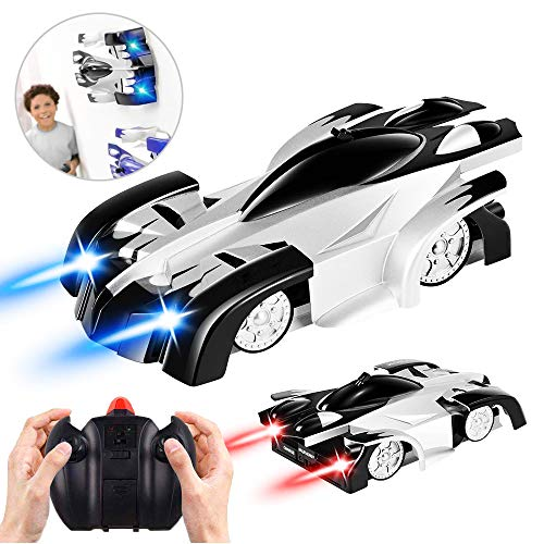 Flyglobal Remote Control Car USB Rechargeable RC Wall Climbing Car Mini Radio Controlled Cars with Led Light 360°Rotating Stunt Wall Climbing Toys for Kids Boys Girl Teens Adults Black