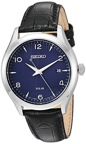 Seiko Mens Quartz Stainless Steel and Leather Dress Watch, Color:Black (Model: SNE491)