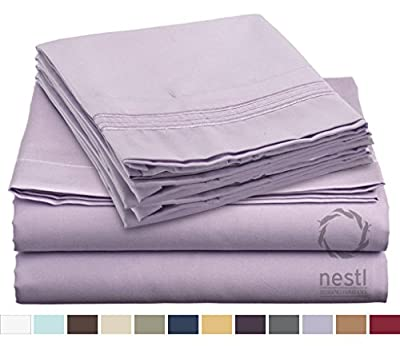 HIGHEST QUALITY Bed Sheet Set, #1 on Amazon, Split King Size, Lavender, - Super Soft, Silky Coziest Sheet – SALE! - Better than Cotton, Will Fit Deep Pocketed Mattresses - Wrinkle, Stain and Fade Resistant Hypoallergenic Fabric - Set Includes Luxury Fitte