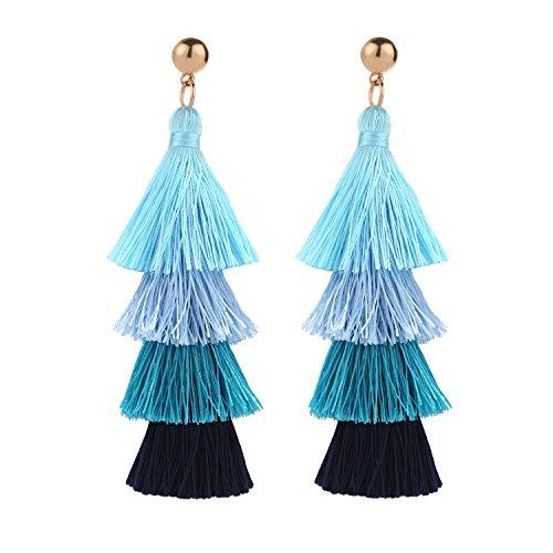 BaubleStar Fashion Gold Tassel Dangle Earrings Layered Long Bonita Tiered Blue Ombre Thread Tassel Drop Statement Jewelry for Women Girls B054BO