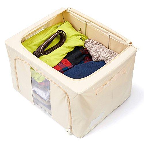storage box 2 pack foldable container organizer basket bins extra large beige ebay. Black Bedroom Furniture Sets. Home Design Ideas