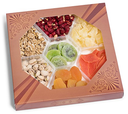 Holiday Assorted Nuts Dried Fruit Tray (7-Flavors) Christmas, New Year's and Thanksgiving Gourmet Mixed Snacks | Fancy Roasted Peanuts, Pistachios,, Dried apricot, ,Dried kiwi