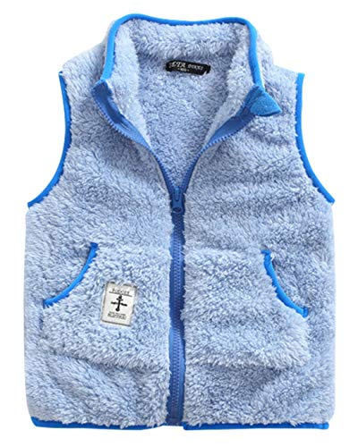 Girls Fleece Vest Spring Warm Soft Fashion Anchor Pattern Slant Pockets Waistcoat 4-5T Blue
