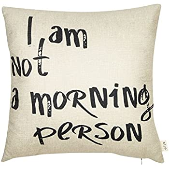 Amazon Fjfz I Am Not A Morning Person Funny Quote Cotton Linen Custom Decorative Pillows With Words