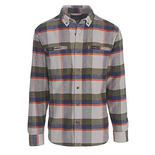 Woolrich Men's Oxbow Pass Plaid Flannel Shirt - 100% Organic Cotton, GEYSER HERRINGBONE (Gray), Size M ()