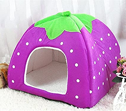 /morado doitsa Belle Pet perro gato cama de invierno caliente suave esponja de peluche fresa conejo cama casa caseta perro coj/ín cesta la casa del animal Fournitures para animales 1pc/