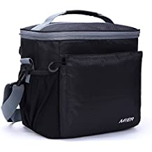 MIER Insulated Lunch Bag Men and Women Soft Cooler Lunch Box Tote with Shoulder Strap, Leakproof Liner, 24 Can, Black