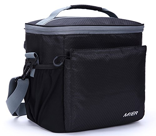 Soft Lunch Box Lunch (MIER Insulated Lunch Bag Men and Women Soft Cooler Lunch Box Tote with Shoulder Strap, Leakproof Liner, 24 Can, Black)
