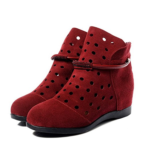 Allhqfashion Women's Blend Materials Frosted Low-Heels Boots with in Elevator Shoes Red xUpskom0