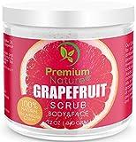 Exfoliating Grapefruit Face & Body Scrub - 12 Oz 100% Natural Cleanser Best Exfoliator - Strech Mark and Cellulite Removal with Sea Salt and Essential Oils - Exfoliates Moisturizes Premium Nature