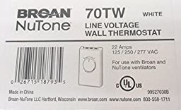 Broan NuTone 70TW Wall Thermostat for Fans - White