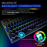 Raydem RGB Mechanical Keyboard with Blue Switches, 16.8 Million RGB Backlit Mechanical Gaming Keyboard with 14 LED Backlit Modes 104-key Anti-Ghost Aluminum Plate, Non-Fading UV Coating for PC & Mac