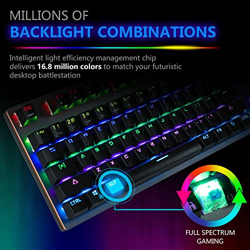 Raydem RGB Mechanical Keyboard with Blue Switches, 16.8 Million RGB Backlit Mechanical Gaming Keyboard with 14 LED Backlit Modes 104-key Anti-Ghost Aluminum Plate, Non-Fading UV Coating for PC & Mac by Raydem (Image #2)