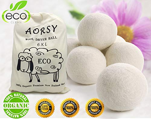 Organic Wool Dryer Balls by Harzand - 6 Pack - 100% New Zealand Wool - No Chemicals - Reusable Natural Fabric Softener - Reduces Drying Time, Wrinkles, Static - Better Alternative to Plastic Balls ()