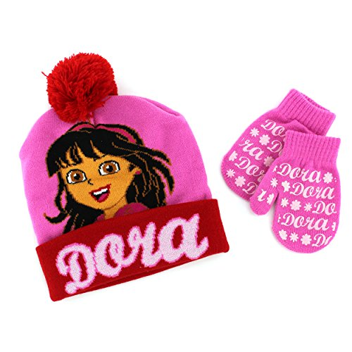 Disney Nickelodeon Toddler Girls Hat and Mittens Set (Pink/Red Dora) (Dora The Explorer Costumes)