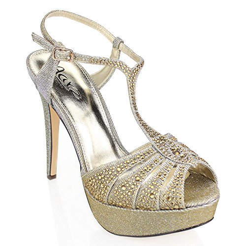 Women Ladies Evening Wedding Party Platform High Heel Diamante Bridal Prom Sandal Shoes Size Pewter 7zbuWAeMx
