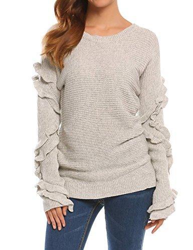 Opino Women's Ribbed Boat Neck Ruffles Long Sleeve Sweater Knit Jumper(Gray,XL) (Ruffle Neck Cardigan)