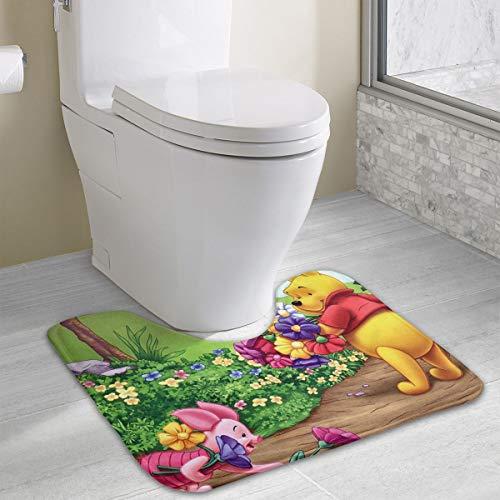 Contour Bath Rug Winnie Pooh and Piglet with Flower U-Shaped Toilet Floor Rug Shower Mat Non Slip Bathroom Carpet 19.3