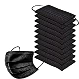 50pcs Disposable Face Másk With 3 Layer Filter With Elastic Earloop,black Gray Breathable Safety Face Scarfs Black 50 Pcs