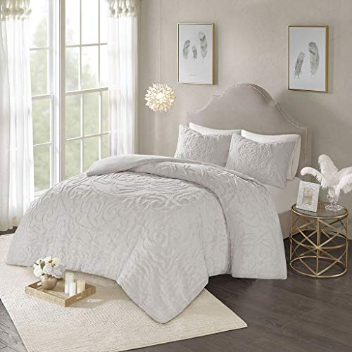 Madison Park Laetitia 3-Piece Tufted Cotton Chenille Medallion Duvet Cover Set, Full/Queen, Grey (Renewed)