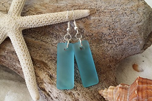 Handmade in Hawaii, blue sea glass rectangle earrings, sterling silver hooks, FREE gift wrap, FREE gift message, FREE -