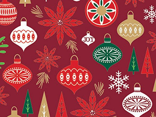 Christmas Trees Ornaments Poinsettia Holiday Gift Wrap Paper - 16 Foot Roll -