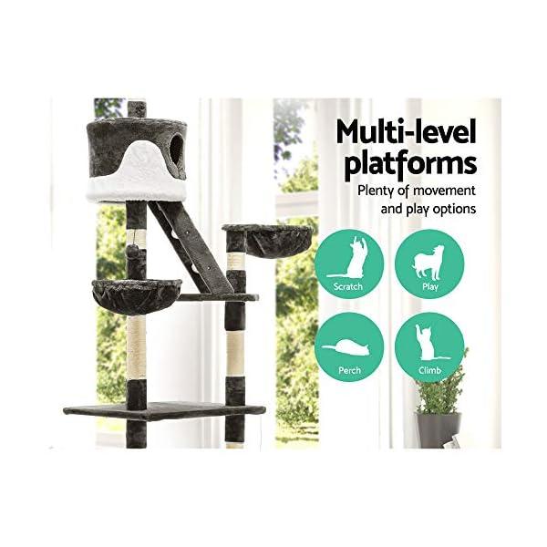 Cat Scratching Tree Post Sisal Pole Condo House Furniture Multi level Grey 260cm 4