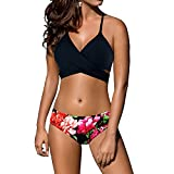Bikini Women's Swimsuit Criss Cross Halter Style Top with Floral Printed Bathing Suit Bottoms Underwear for Girls