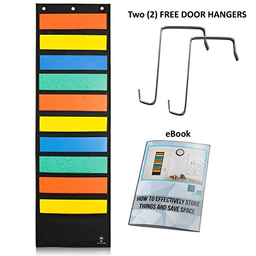 Hanging File Organizer By IQ Storage: 10 Pocket Wall Mounted Folder Holder, With 2 Door Hooks, For Organizing Papers, Documents Supplies In Classroom, Office And Nursery - Heavy Duty 600D Polyester