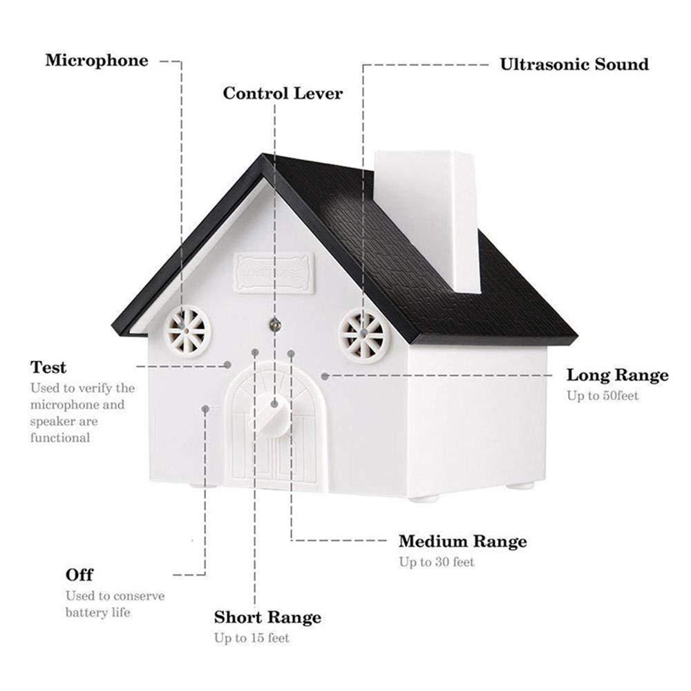 Aolvo - Dispositivo ultrasónico antiladridos para perro, diseño de casa de pájaros, resistente al agua, seguro para mascotas, control de corteza al aire ...