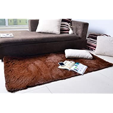 Super Soft Modern Shag Area Rugs Living Room Carpet Bedroom Rug for Children Play Solid Home Decorator Floor Rug and Carpets 4- Feet By 5- Feet (Coffee)