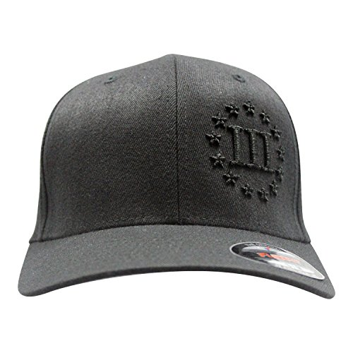 Bang Bang Apparel Men's 3D Puff '3 Percent' Embroidered Flexfit Baseball Cap (Black with Embossed Black Stitching, Small/Medium) (Embossed Spandex Hat)