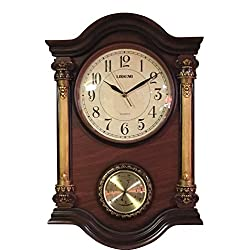 Elegant, Decorative, Hand Painted Modern Wall Clock With Temperature Thermostat For New Room or Office. Color Brown & Bronze. Large. 24 Inch.
