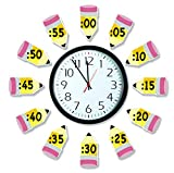 Eureka 'Telling Time' Bulletin Board Analog Clock Practice, 4pc, 17'' W x 24'' L (2 Pack)