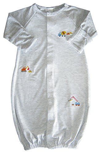 Kissy Kissy Baby-Boys Infant Work Zone Stripe Convertible Gown-Gray-Small