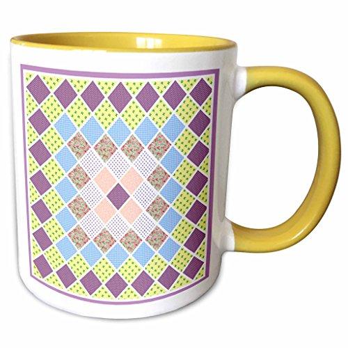 3dRose Bev Newcomer Patterns - Pretty Pink, Lavender, Yellow and Blue Quilt Square Design - 11oz Two-Tone Yellow Mug (mug_113920_8)