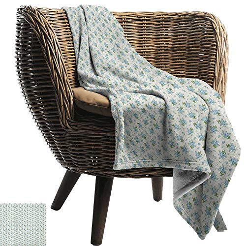 AndyTours Picnic Blanket,Ivory and Blue,Forget-me-not Flowers Pattern Fresh Foliage on Ivory Backdrop, Pale Blue Ivory and Green,Colorful | Home, Couch, Outdoor, Travel Use 70