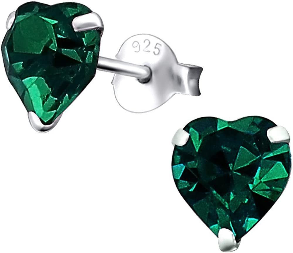 Laimons Pendientes para mujer Corazón Verde Brillante Plata de ley 925