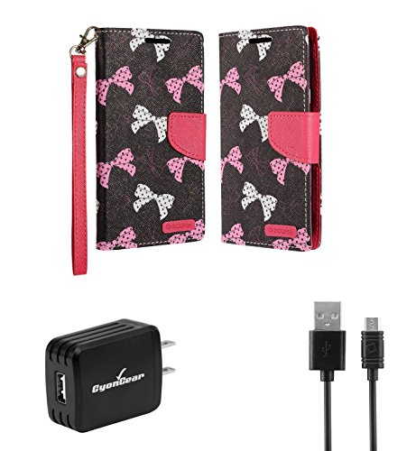 LG X Charge | LG Fiesta 2 | LG Fiesta - Accessory Bundle: (Polka Dot Bows) PU Leather Wallet Carrying Case, 10W High Power USB Wall Charger, Micro USB Cable [4 Feet], Atom LED